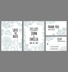 set template wedding invitation monochrome vector image