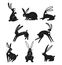 silhouettes black rabbits isolated on a white vector image