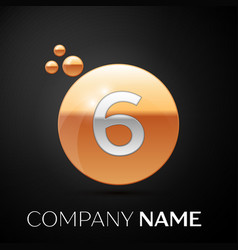 silver number six logo gold dots splash bubble vector image
