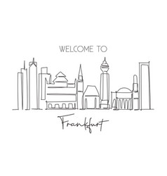 single continuous line drawing frankfurt city vector image