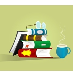 stack of books with eyeglasses on top vector image