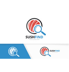 Sushi and loupe logo combination japanese vector