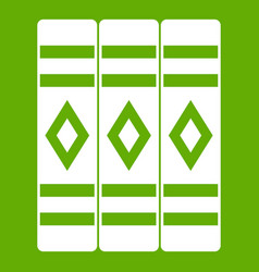 Three literary books icon green vector