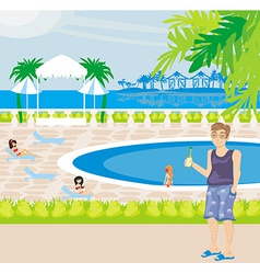 Tourists at the pool vector image