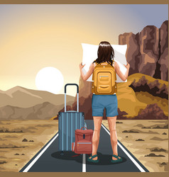 Traveler woman with suitcases and map with western vector