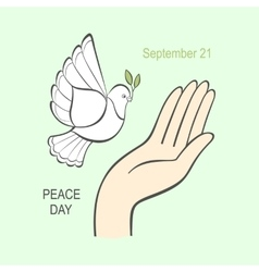 white dove with an olive branch and human hand vector image