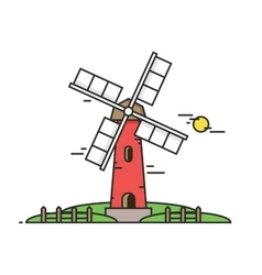 Windy mill on a background of green fields and vector image