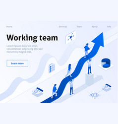 working team isometric banner business management vector image