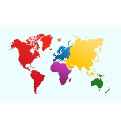 World map colorful continents atlas EPS10 file vector
