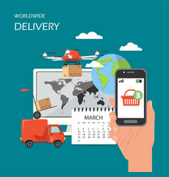 worldwide delivery flat style design vector image
