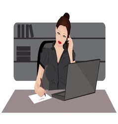 young woman on a phone vector image