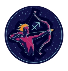 Zodiac sign Sagittarius on starry background vector