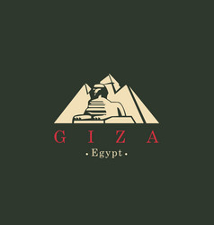 banner with egyptian pyramids with sphinx in giza vector image vector image