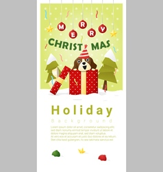 Merry Christmas Greeting banner with dog inside vector image