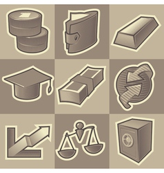 Monochrome finance icons vector image vector image