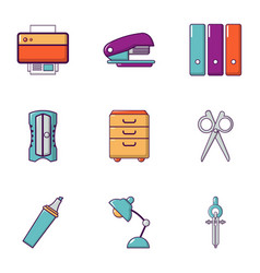 office stuff icons set flat style vector image vector image