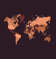stylized geometric political map of the world with vector image