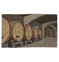 wine barrels in cellar vintage old looking vector image