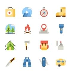 camping and hiking flat icons vector image vector image