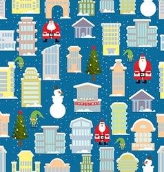 City Christmas landscape New year city Snowfall vector image vector image