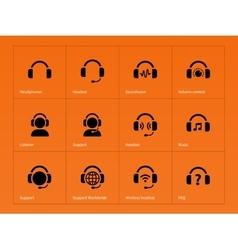 Earphones icons on orange background vector image