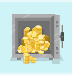 opened safe with coins in front view flat style vector image vector image