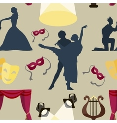 Pattern of theatre acting performance icons vector image
