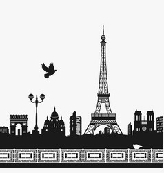silhouette of the eiffel tower vector image