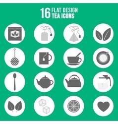 Flat design tea icons set vector image vector image