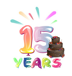 greeting card for fifteen years vector image vector image