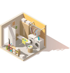 isometric low poly laundry room icon vector image