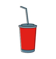 Plastic cup soda cold beverage straw vector