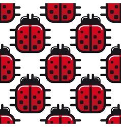 Stylized red ladybug seamless pattern vector image vector image