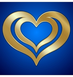 abstract pair of golden hearts on blue background vector image vector image