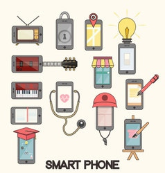 Isolated smartphone functions for life vector image vector image