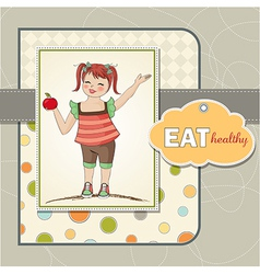 pretty young girl recommends healthy food vector image