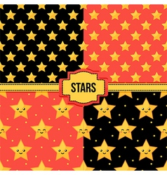 Set collection of seamless patterns with stars vector image