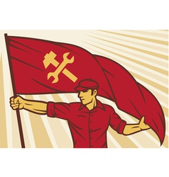 worker holding a flag - industry poster vector image