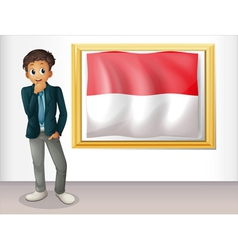 A boy with the framed flag of indonesia vector