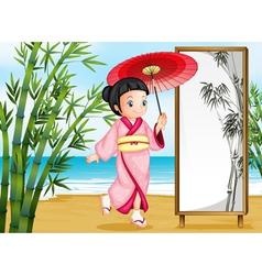A girl in kimono attire vector