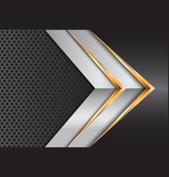 Abstract gold silver arrow gray metal circle mesh vector
