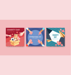 ads template with international day charity vector image