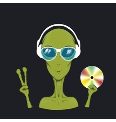 Alien music fun hand drawn vector image