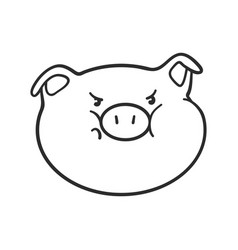 Angry emoticon icon emoji pig for coloring book vector