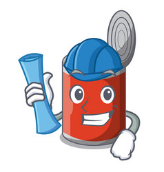 architect metal food cans on a cartoon vector image