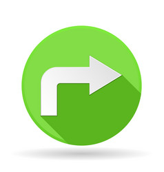 Arrow icon green round sign with shadow right vector