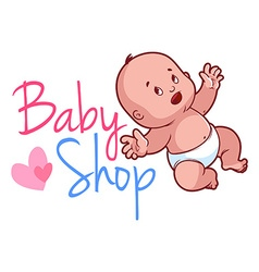 Baby shop logo Cute toddler in diaper vector image