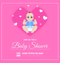 bashower invitation template pink card vector image