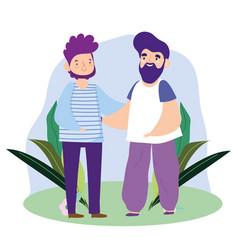 bearded men fathers character cartoon outdoor vector image