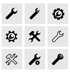 black settings wrench icon set vector image